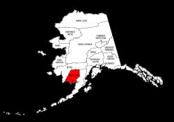 Map of Alaska highlighting Dillingham county, pattern, stencil, template, svg.