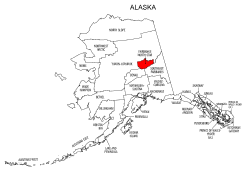 Map of Alaska highlighting Fairbanks North Star county, pattern, stencil, template, svg.