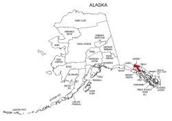 Map of Alaska highlighting Haines county, pattern, stencil, template, svg.