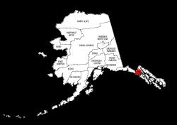 Map of Alaska highlighting Hoonah-Angoon county, pattern, stencil, template, svg.