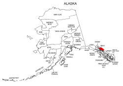 Map of Alaska highlighting Juneau county, pattern, stencil, template, svg.