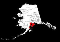 Map of Alaska highlighting Kenai Peninsula county, pattern, stencil, template, svg.