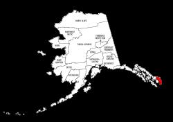 Map of Alaska highlighting Ketchikan Gateway county, pattern, stencil, template, svg.