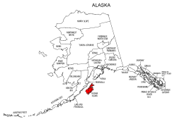 Map of Alaska highlighting Kodiak Island county, pattern, stencil, template, svg.