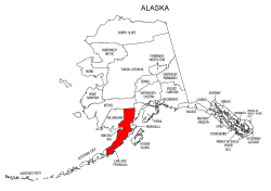 Map of Alaska highlighting Lake and Peninsula county, pattern, stencil, template, svg.