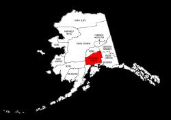 Map of Alaska highlighting Matanuska-Susitna county, pattern, stencil, template, svg.