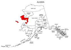Map of Alaska highlighting Nome county, pattern, stencil, template, svg.