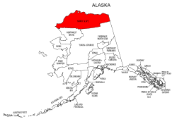 Map of Alaska highlighting North Slope county, pattern, stencil, template, svg.