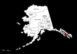 Map of Alaska highlighting Petersburg county, pattern, stencil, template, svg.