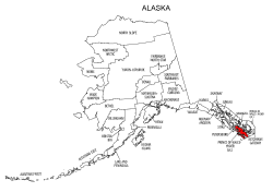 Map of Alaska highlighting Prince of Wales-Hyder county, pattern, stencil, template, svg.