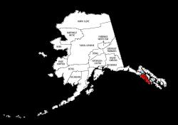 Map of Alaska highlighting Sitka county, pattern, stencil, template, svg.