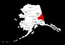 Map of Alaska highlighting Southeast Fairbanks county, pattern, stencil, template, svg.
