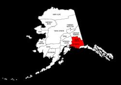 Map of Alaska highlighting Valdez-Cordova county, pattern, stencil, template, svg.