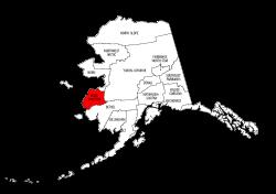 Map of Alaska highlighting Wade Hampton county, pattern, stencil, template, svg.