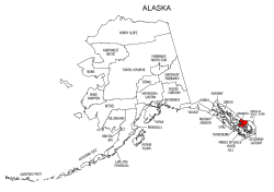 Map of Alaska highlighting Wrangell county, pattern, stencil, template, svg.