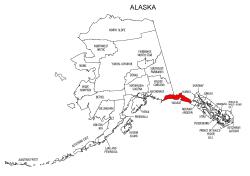 Map of Alaska highlighting Yakutat county, pattern, stencil, template, svg.