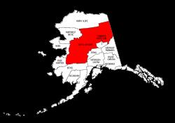 Map of Alaska highlighting Yukon-Koyukuk county, pattern, stencil, template, svg.