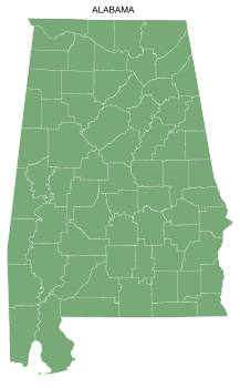 Free Alabama county map, printable, state, outline, shape, county lines, pattern, template, download.