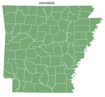 Free Arkansas county map, printable, state, outline, shape, county lines, pattern, template, download.