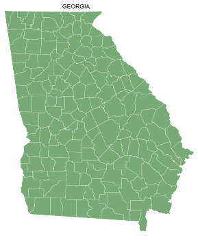 Free Georgia county map, printable, state, outline, shape, county lines, pattern, template, download.