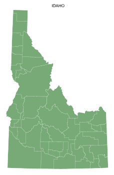 Free Idaho county map, printable, state, outline, shape, county lines, pattern, template, download.