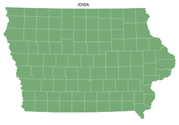 Free Iowa county map, printable, state, outline, shape, county lines, pattern, template, download.