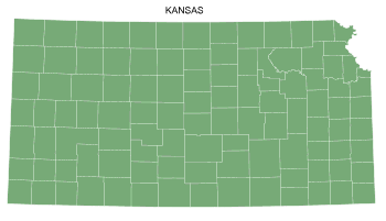 Free Kansas county map, printable, state, outline, shape, county lines, pattern, template, download.