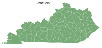 Free Kentucky county map, printable, state, outline, shape, county lines, pattern, template, download.