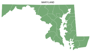 Free Maryland county map, printable, state, outline, shape, county lines, pattern, template, download.