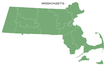 Free Massachusetts county map, printable, state, outline, shape, county lines, pattern, template, download.