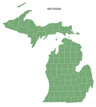 Free Michigan county map, printable, state, outline, shape, county lines, pattern, template, download.