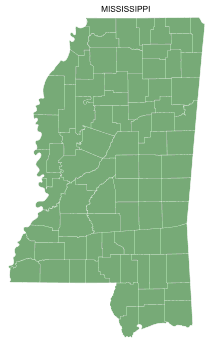 Free Mississippi county map, printable, state, outline, shape, county lines, pattern, template, download.