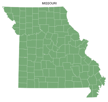 Free Missouri county map, printable, state, outline, shape, county lines, pattern, template, download.