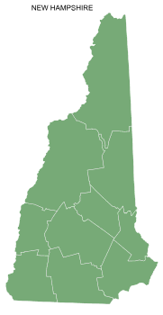 Free New Hampshire county map, printable, state, outline, shape, county lines, pattern, template, download.