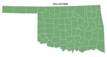 Free Oklahoma county map, printable, state, outline, shape, county lines, pattern, template, download.