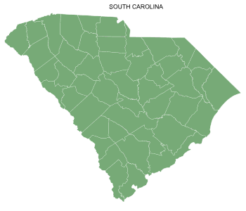 Free South Carolina county map, printable, state, outline, shape, county lines, pattern, template, download.