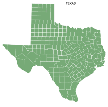 Free Texas county map, printable, state, outline, shape, county lines, pattern, template, download.