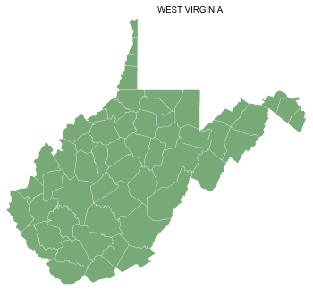 Free West Virginia county map, printable, state, outline, shape, county lines, pattern, template, download.