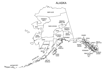 Free printable Alaska map with county lines, state, outline, printable, shape, template, download.