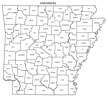 Free printable Arkansas map with county lines, state, outline, printable, shape, template, download.