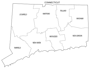 Free printable Connecticut map with county lines, state, outline, printable, shape, template, download.