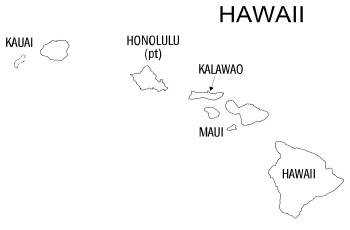 Free printable Hawaii map with county lines, state, outline, printable, shape, template, download.