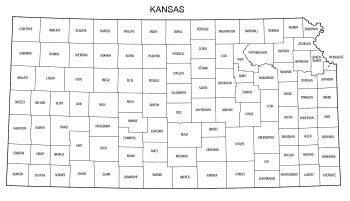 Free printable Kansas map with county lines, state, outline, printable, shape, template, download.