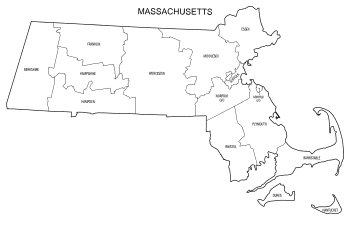 Free printable Massachusetts map with county lines, state, outline, printable, shape, template, download.