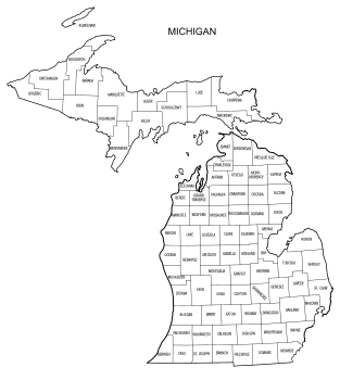 Free printable Michigan map with county lines, state, outline, printable, shape, template, download.