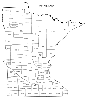 Free printable Minnesota map with county lines, state, outline, printable, shape, template, download.