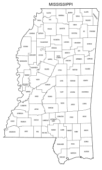 Free printable Mississippi map with county lines, state, outline, printable, shape, template, download.