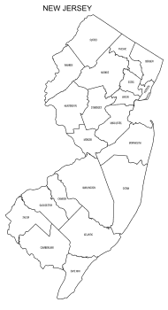 Free printable New Jersey map with county lines, state, outline, printable, shape, template, download.