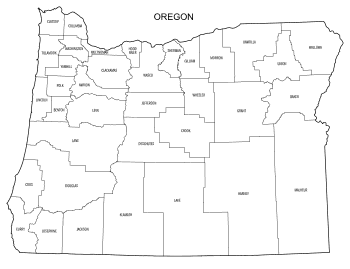 Free printable Oregon map with county lines, state, outline, printable, shape, template, download.