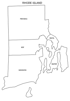 Free printable Rhode Island map with county lines, state, outline, printable, shape, template, download.